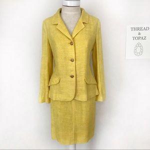 Yellow 50's Vintage Linen Pencil Skirt Suit